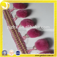 pink stock Fringe for dresses and home decoration
