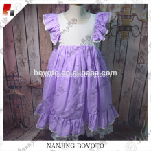 Wholesale purple flutter sleeve toddler dress