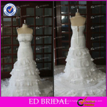ED Latest Real Photo Crystal Pleating Lace Appliques Alibaba Tiered Wedding Dresses