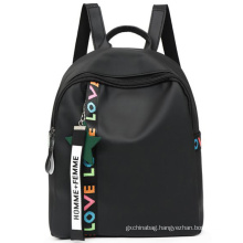 Wholesale promotion waterproof fashion black nylon girls college school backpack for students