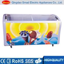 538L Glass top open door ice cream large capacity freezer