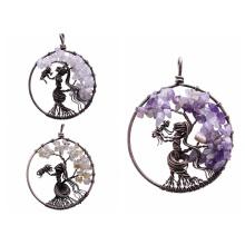 Кулон с деревом жизни для ожерелья, амулет, кристалл, кварц, 7 чакр, медитация, драгоценные камни, талисманы, мир, семейные подарки