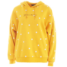 Good Quality Softy Yellow Fleece Fabric Breathable Workout Women'S Pullover Hoodies