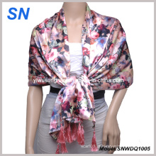 2015 moda cetim lenço com design de flores