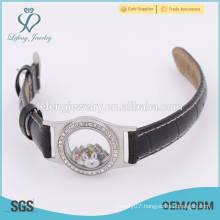 Personalized teen leather glass floating locket watch, leather wrap bracelet locket