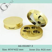 Золотой пластиковые Eye Shadow дело с зеркало AG-ES1067-3 раунда, AGPM косметической упаковки, Эмблема цветов