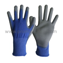 Blue Polyester Knitted Gloves with Grey PU Dipping