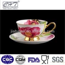 2014 Porzellan Goldrand Teetasse und Untertasse mit roter Blume