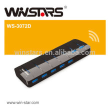 7 Ports Hub USB 3.0 avec adaptateur secteur, moyeu USB 5Gbps à 5 watts.