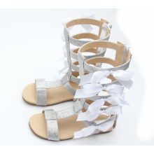 Vente chaude fille fille blanche bowknot nouvelles sandales de gladiateur