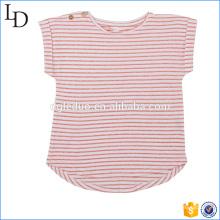 Rouge avec blanc t-shirt rayé personnalisé coton doux tissu pour les filles