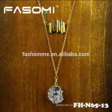модный простой дизайн посеребренные Друза кулон ожерелье