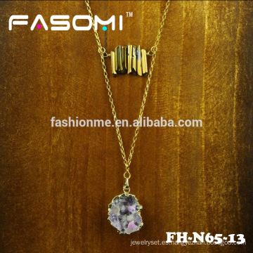 diseño simple moda plateado druzy colgante, collar