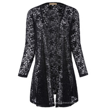 Kate Kasin Sexy Women's Long Sleeve Open Front See-Through Lace Coat Tops Bolero KK000421-1