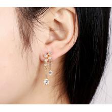 Boucles d'oreilles à aiguilles en argent S925 plaqué or avec zircon sauvage