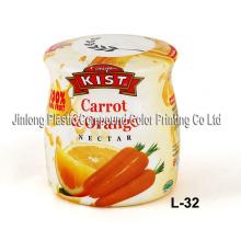 Étiquette manuelle rétractable pour bouteille de jus de fruits