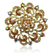 Bunte Rhinestone-schöne Blumen-Goldüberzug-Zink-Legierungs-Brosche