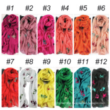 Best floral long size hijab indian head scarf embroidered shawl
