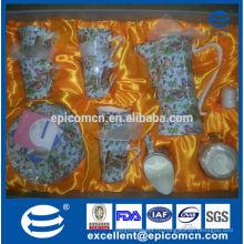 Оптовый королевский Mid-east конструкция тонкий комплект обеда фарфора косточки, чашка чая чашки кофе и блюдце, сливк и сахарный горшок