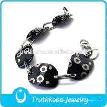 TKB-B120 Mens Chain Boys Smooth Black Tone Curb Cuban 316L Stainless Steel Bracelet