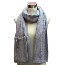 Lady Acrylic Knitted Fashion Scarf with a Pocket (YKY4324)