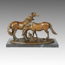 Animal Bronze Sculpture Horse Family Decoration Brass Statue Tpal-245