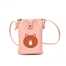 Promotional custom printing cartoon LOGO adjustable crossbody bag pu mobile phone bag