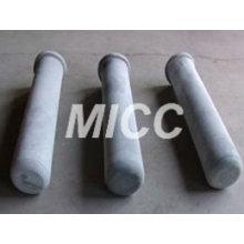 Tubo recristalizado da proteção do par termoeléctrico do carboneto de silicone / tubo alto do par termoeléctrico da alumina / tubo cerâmico da alumina