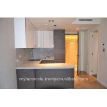 Modulares Küchenschrank Grau Industrie Furnier und Hochglanz Acryl Tür