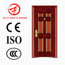 Design de porta principal de segurança em aço de cor de madeira