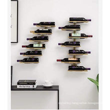 2020 misplaced style gold color customized wall mounted wine bottle racks for home