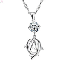 Dolphin Engraving Silver Crystal Pendant Necklace Factory