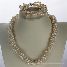 Snh 5-6mm Nugget Shape Freshwater Pearl Jewelry Set Atacado