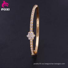 Moda Centelleo Zirconia Blanca Pulsera De Oro Brazalete Chapado