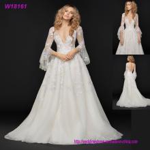 Langes Hülsen-tiefes V Ansatz-Hochzeits-Kleid-glänzendes Spitze-Ballkleid-Brautkleid