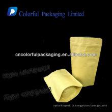 Sacos de papel de kraft marrom da folha de alumínio / sacos de empacotamento Resealable dos feijões de café do papel de embalagem