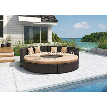 Ny design Curved Wicker Outdoor Soffa Set med kudde
