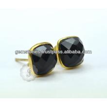 Wholesale Gold Plated Gemstone Bezel Stud Earring Natural Gemstone Stud Earring Manufacturer