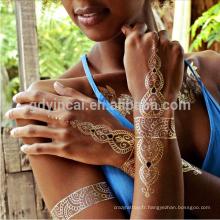 Le marché B2B le plus vendu l'autocollant de tatouage de corps métallique d'or et d'argent