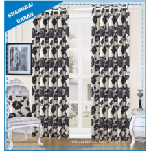 Home Decoration Black Floral Polyester Window Curtain