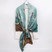 2021 New China Style Low MOQ Shawl Polyester Silk Satin Printed Fashion Long Women Scarves