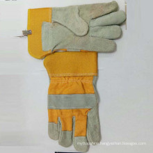 Good Quality Cow Split Leather Cotton Back Safety Working Gloves