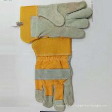 Хорошие качества Корова Сплит кожа Хлопок Назад безопасности рабочих перчаток