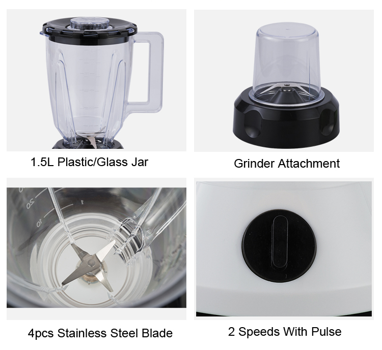 2 In 1 1.5L Glass Blender With Mills