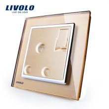 Livolo Manufacturer Interrupteur mural à bouton-poussoir 1 voie avec 1 prise pour prise 15A, panneau en verre cristal doré, VL-W2Z1UK2-13