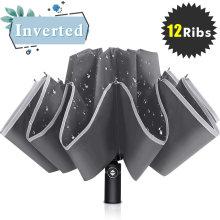 12K Windproof Safety Reflective 3 Folding Automatic Smart Reverse Umbrella
