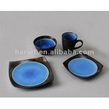 Pottery Square 16pcs Blue Reactive Glaze Cena Set