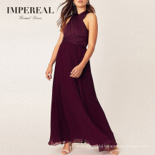 Pleated Burgundy Convertible Plus Size Red Bridesmaid Dresses