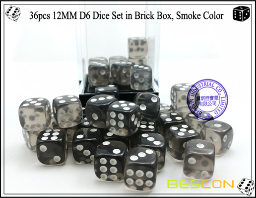 36pcs 12MM D6 Dice Set in Brick Box, Smoke Color-4