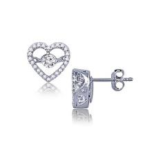 Heart Stud Earrings 925 Silver Dancing Diamond Jewelry